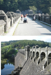 Two images of Lake Vyrnwy dam, the top and the face