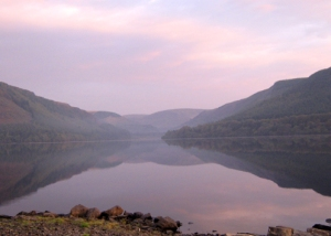 Evening over Lake Vrywy (Llyn Efyrnwy)